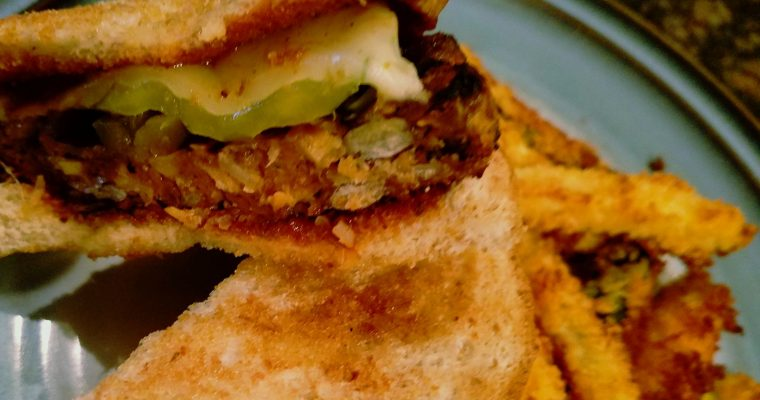 Spicy Black Bean Burger with Jalapenos and BBQ Sauce on Texas Toast