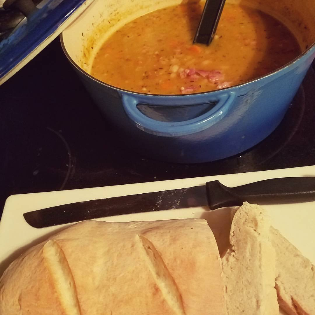 Ham and Bean Soup with Homemade Bread